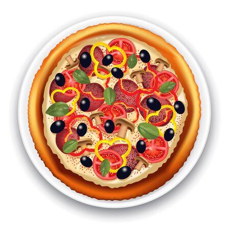 italian sausage: Italian pizza with tomato, sausage and mushrooms. Vector illustration