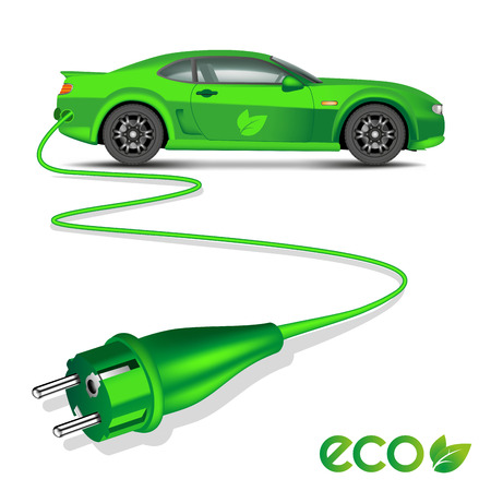 Green ecology electric car with power plug isolated on white. Vector illustration Çizim