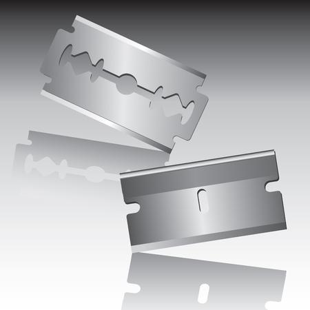 razor blade: Traditional razor blade isolated on background. Vector illustration