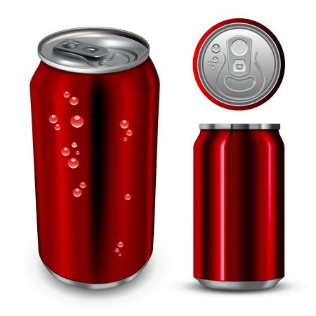 lata de refresco: El aluminio puede aislados en blanco. Ilustración vectorial