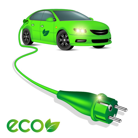 Green ecology electric car with power plug isolated on white. Vector illustration Иллюстрация