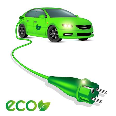 Groene ecologie elektrische auto met stekker geïsoleerd op wit. Vector illustratie
