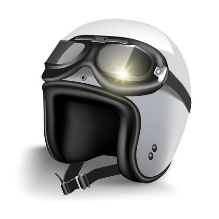Retro motorfiets helm met bril. Geïsoleerd op wit. Vector illustratie Stock Illustratie