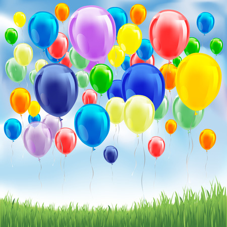 baloons: Colorful birthday or party balloons on the sky. Vector illustration Illustration