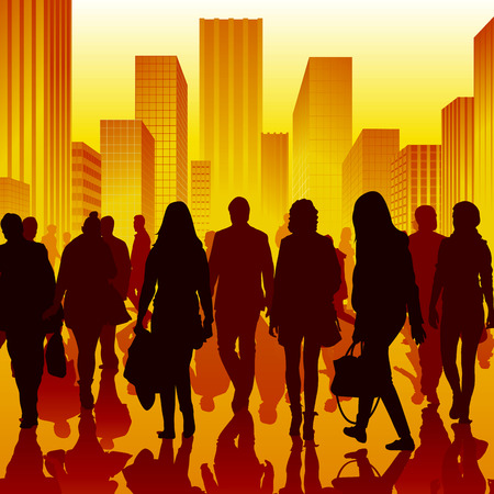 crowd happy people: Walking people in city isolated on background. Vector illustration Illustration