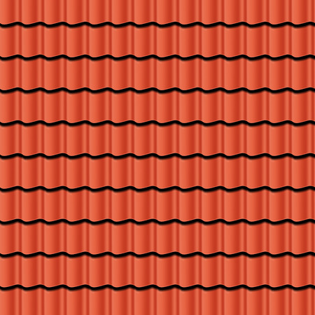 Red corrugated tile element of roof. Seamless pattern. Vector illustration  イラスト・ベクター素材