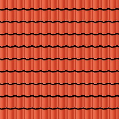 shingles: Elemento rojo teja acanalada de techo. Patr�n sin fisuras. Ilustraci�n vectorial