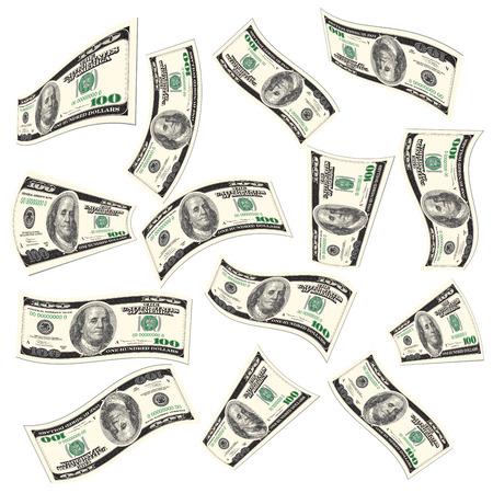 dinero volando: Flying billetes de d�lares aislados en blanco. Ilustraci�n vectorial