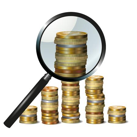 financial success: Geld und Vergr��erungsglas, das Finanzerfolg. Vektor-Illustration Illustration