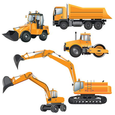 Construction Machines. Bulldozer, excavator, roller, truck. Vector illustration Ilustração
