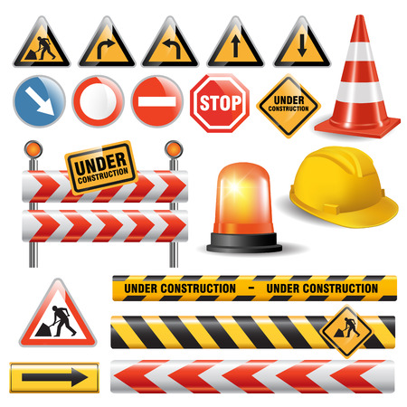 under construction road sign: Set of signs and symbols under construction. Vector illustration Illustration