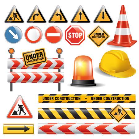 Set of signs and symbols under construction. Vector illustration Illustration