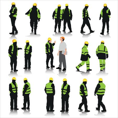 mecanica industrial: Conjunto de trabajadores de la construcci�n siluetas aisladas en blanco. Ilustraci�n vectorial Vectores