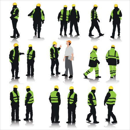 Zestaw sylwetki pracowników budowlanych na białym. Ilustracji wektorowych