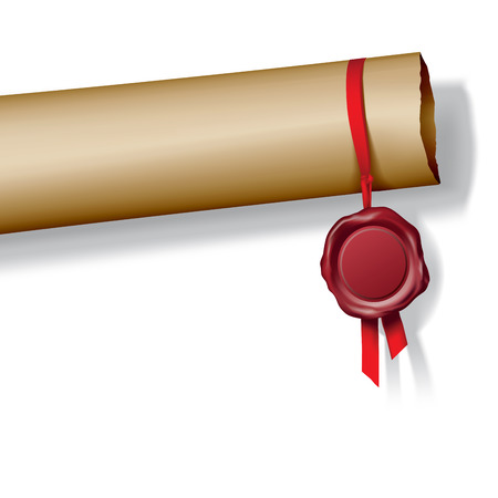 Roll of paper with red wax seal. Vector illustration Vector