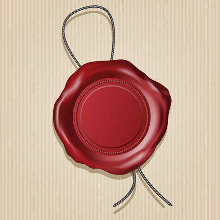 Red wax seal isolated on paper background. Vector illustration