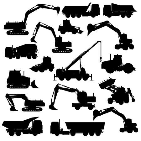 건설 기계의 실루엣입니다. 불도저, 굴삭기, 롤러, 트럭, 로더, 트랙터. 벡터 일러스트 레이 션