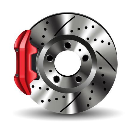 Bremsscheibe mit Bremssattel isoliert auf weiß. Vektor-Illustration