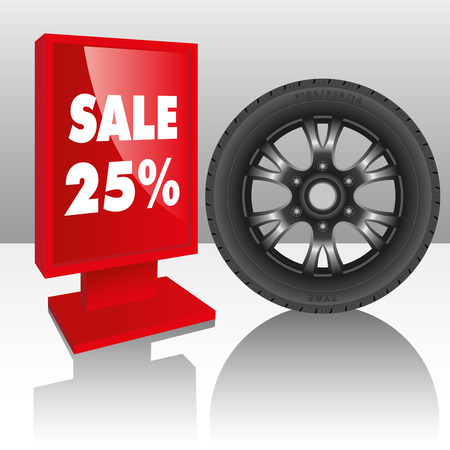 wheel rim: Automobile tire with a sale sign. Vector illustration