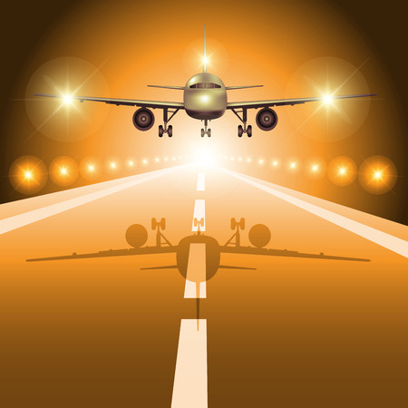 fly up: Passenger plane fly up over take-off runway from airport at night. Vector illustration