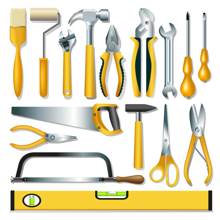 Set van verschillende gereedschappen op witte achtergrond. Vector illustratie