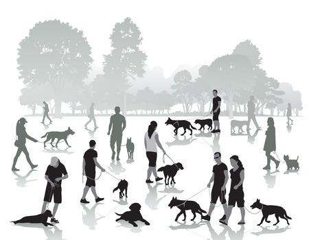 parejas caminando: La gente que camina en el parque con los perros. Ilustraci�n vectorial