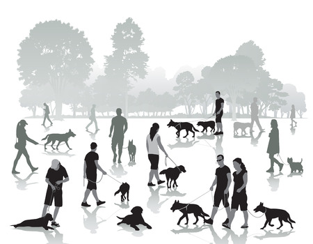 dog leashes: People walking in the park with dogs. Vector illustration