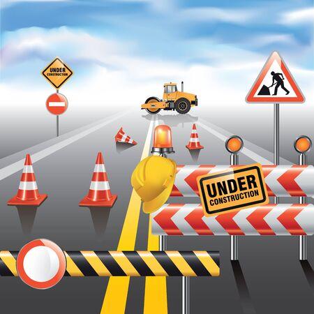 heavy construction: Road to horizon under construction. Vector illustration