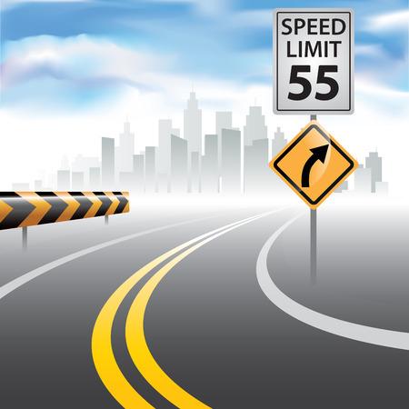 側の速度制限標識と地平線への道。ベクトル イラスト  イラスト・ベクター素材