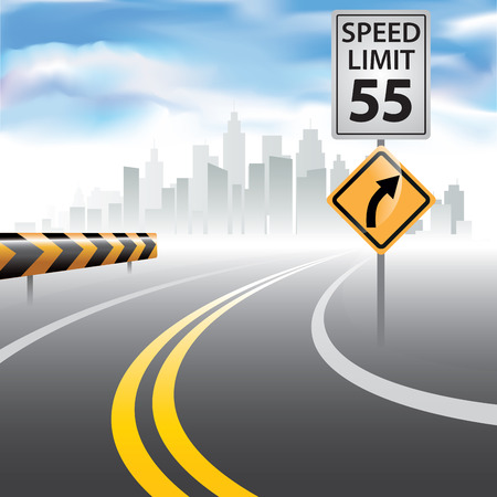 Cesta k obzoru se značkou pro omezení rychlosti na straně. Vektorové ilustrace