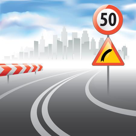 se�ales de seguridad: Camino al horizonte con un l�mite de velocidad firmar un lado. Ilustraci�n vectorial
