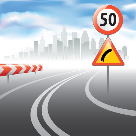enforce: Road to horizon with a speed limit sign on a side. Vector illustration Illustration