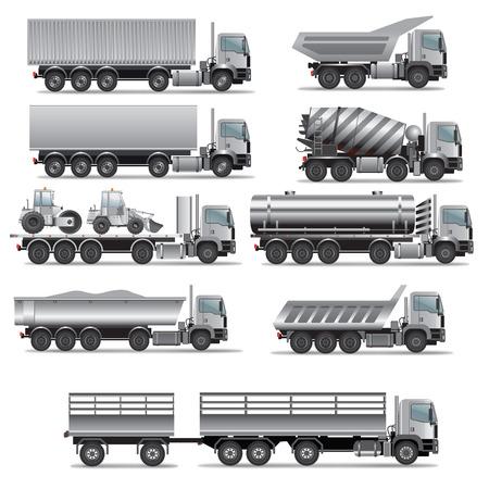 Conjunto de camiones para el transporte de carga. Ilustración vectorial