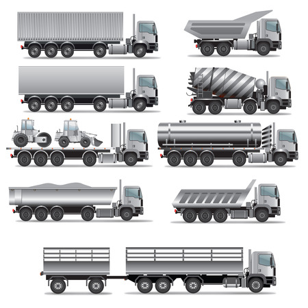 semi trailer: Set of truck for cargo transportation. Vector illustration