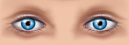 Close up image of woman eyes. Vector illustration