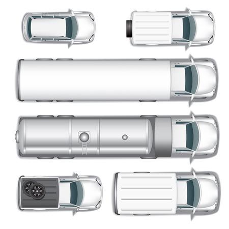 Pohled shora na různé automobily set na bílém. Vektorové ilustrace