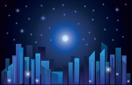 sky line: Abstract city skylines at night. Vector illustration
