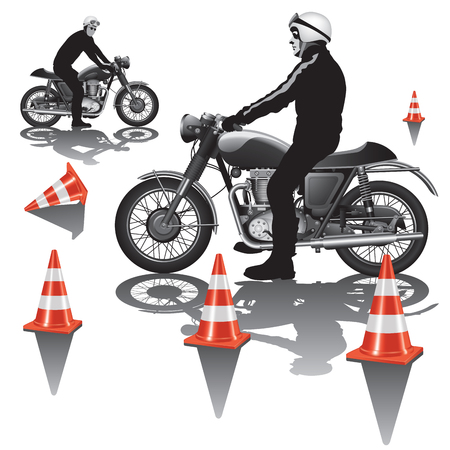 driver license: Motorcycle education school training. Vector illustration