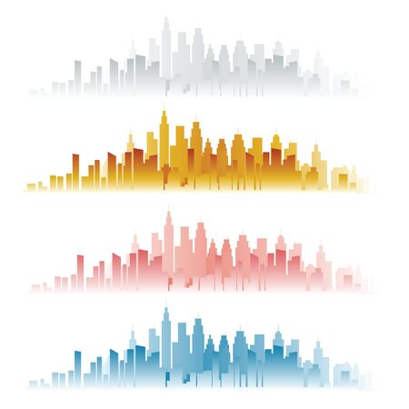 skylines: Abstract city skylines in four color versions. Vector illustration Illustration