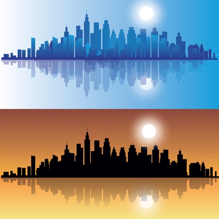 skylines: City skylines at evening in two versions. Vector illustration