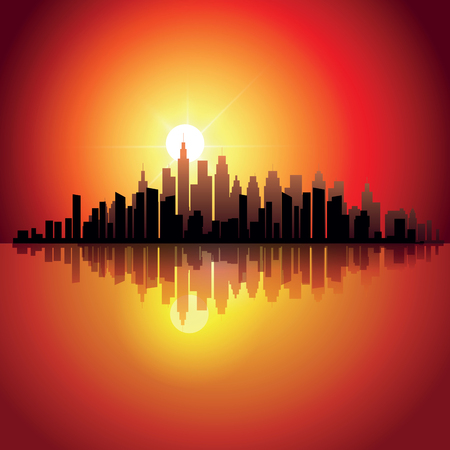 skylines: Abstract city skylines at sunset. Vector illustration