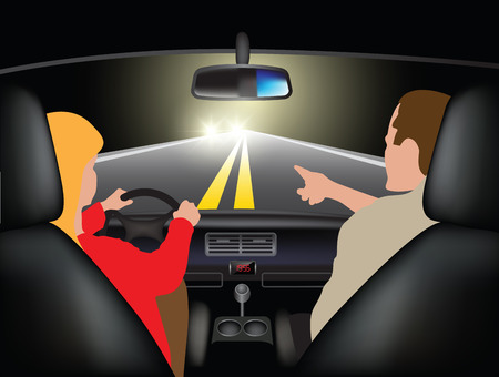drives: Driving course at night - young woman driving car with instructor. Vector illustration