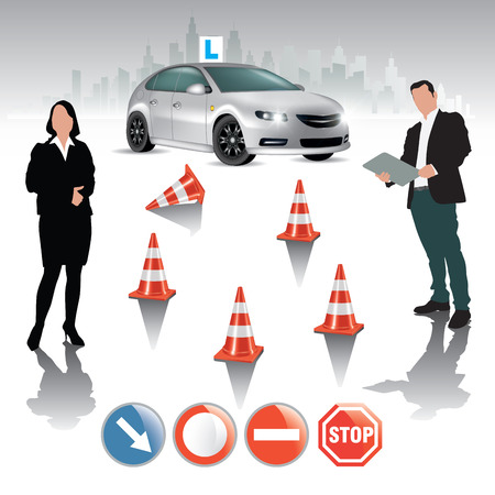 driving school: Learner driver girl with instructor taking lessons. Vector illustration
