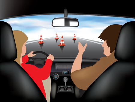 adults learning: Learner driving car with instructor. Vector illustration