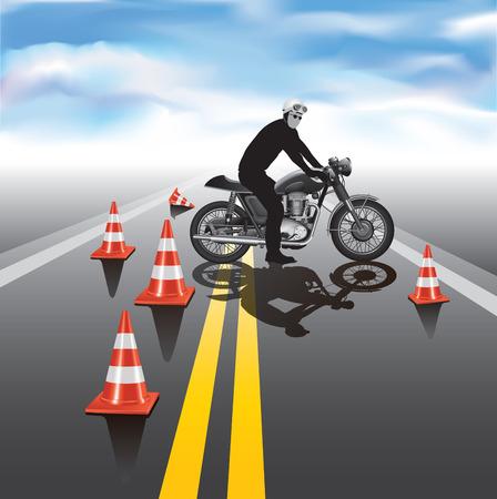driving school: Motorcycle education school training. Vector illustration