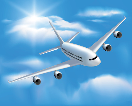 passenger plane: Large passenger plane flying in the blue sky. Vector illustration