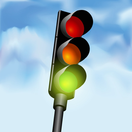 stop light: Close view of a traffic light against a sky background. Vector illustration Illustration