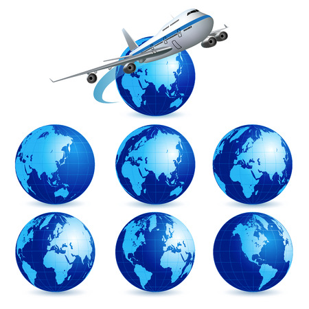 airliner: Airliner with a globe on the white background. Vector illustration