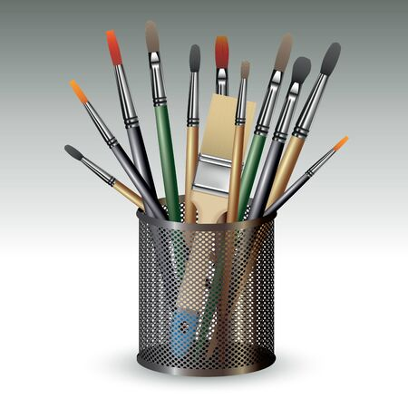 creative arts: Paint brushes in holder isolated on background. Vector illustration