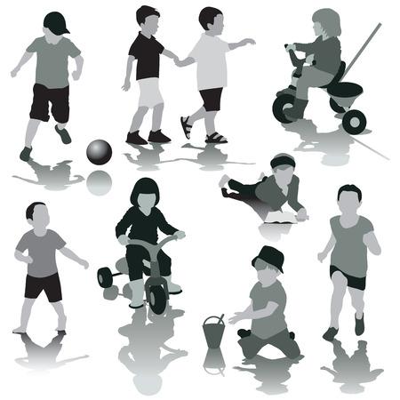 Vector children: Bóng của nhóm trẻ em chơi đùa cô lập trên nền trắng. vector minh họa Hình minh hoạ